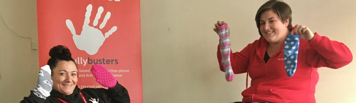 Bullybusters wear odd socks for Anti-bullying Week
