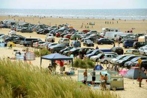 Cars parked on Ainsdale beach