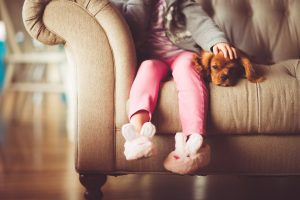 Child with puppy on a sofa