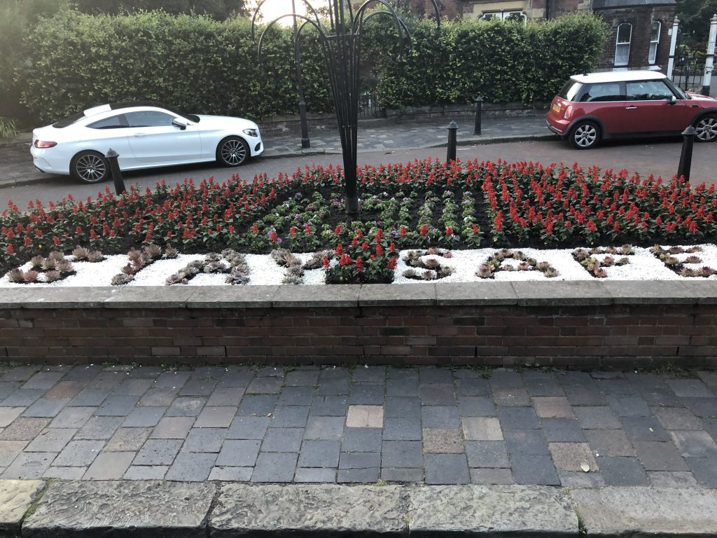 Stay Safe flower bed display n Southport