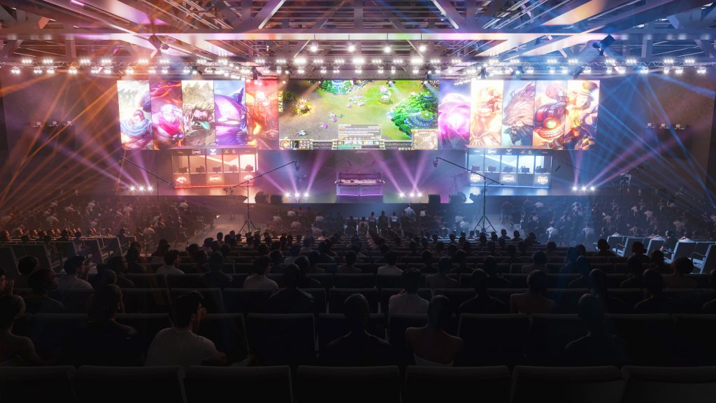 Artist impression of e-sports event at Marine Lake Events Centre proposed Southport Town Deal Plans