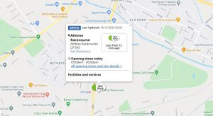 Details of Aintree racecourse SMART testing site shown on location map.