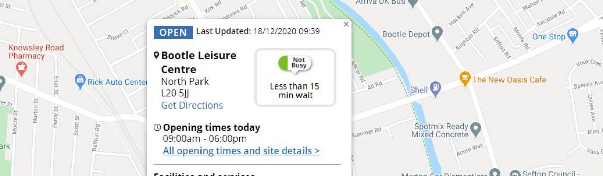 Live map now shows Sefton's SMART COVID testing site details including likely waiting times
