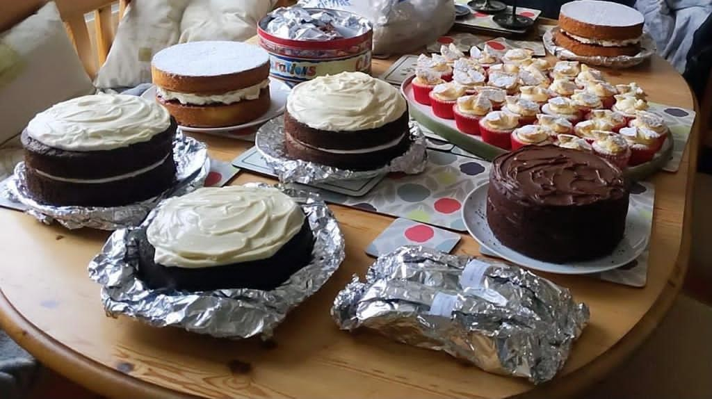 A table of baked cakes