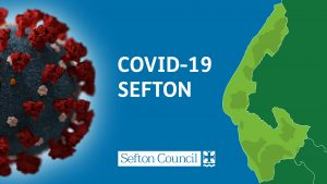 Graphic to symbolise Covid-19 in Sefton