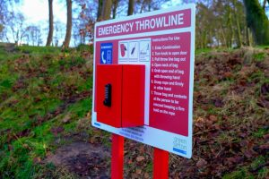 Photograph of the emergency throwline equipment by the lake at Southport's Hesketh Park