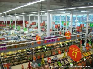 Photograph looking down on supermarket aisles.
