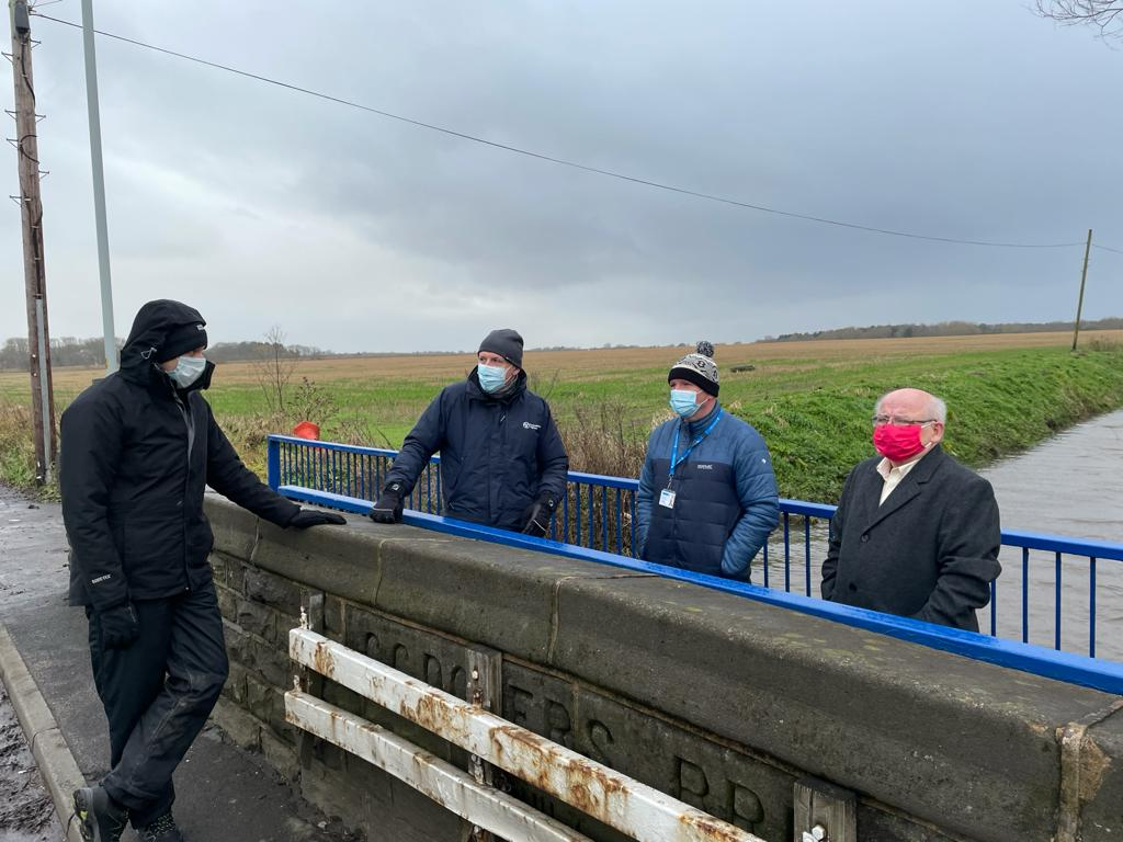 Council Leader, CEO, Green Sefton colleague and Environment Agency partner at the River Alt in Maghull