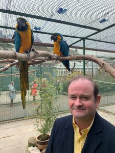Cllr Moncur at Southport Botanic Gardens Aviary
