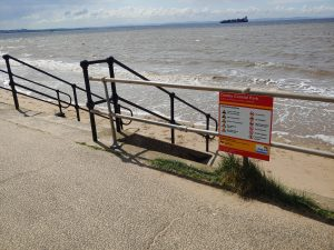 Water safety signage at Crosby beach