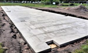 Photo of new foundations for Bootle Golf Course Diving Range