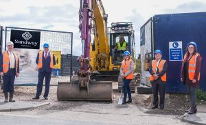 Photo at he site gates to mark the progress on the first Sandway Homes development