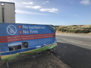 Beach safety banner at Ainsdale
