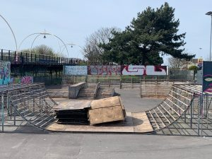 Southport skate park ramp refurbishments in progress