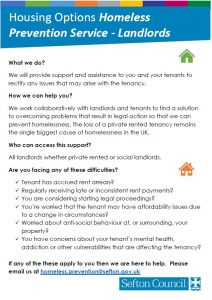 Leaflet outlining how Sefton Council's Housing service can help landlords