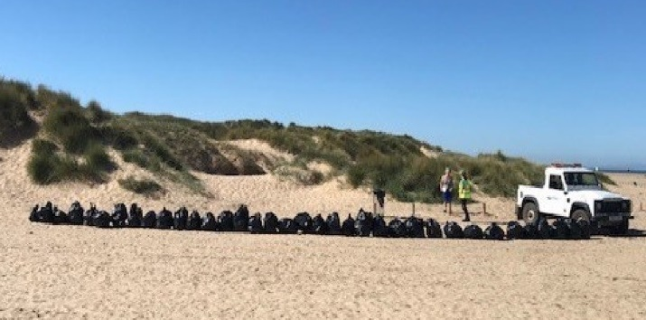30 bags of rubbish collected from the area around just one bin at Ainsdale beach.