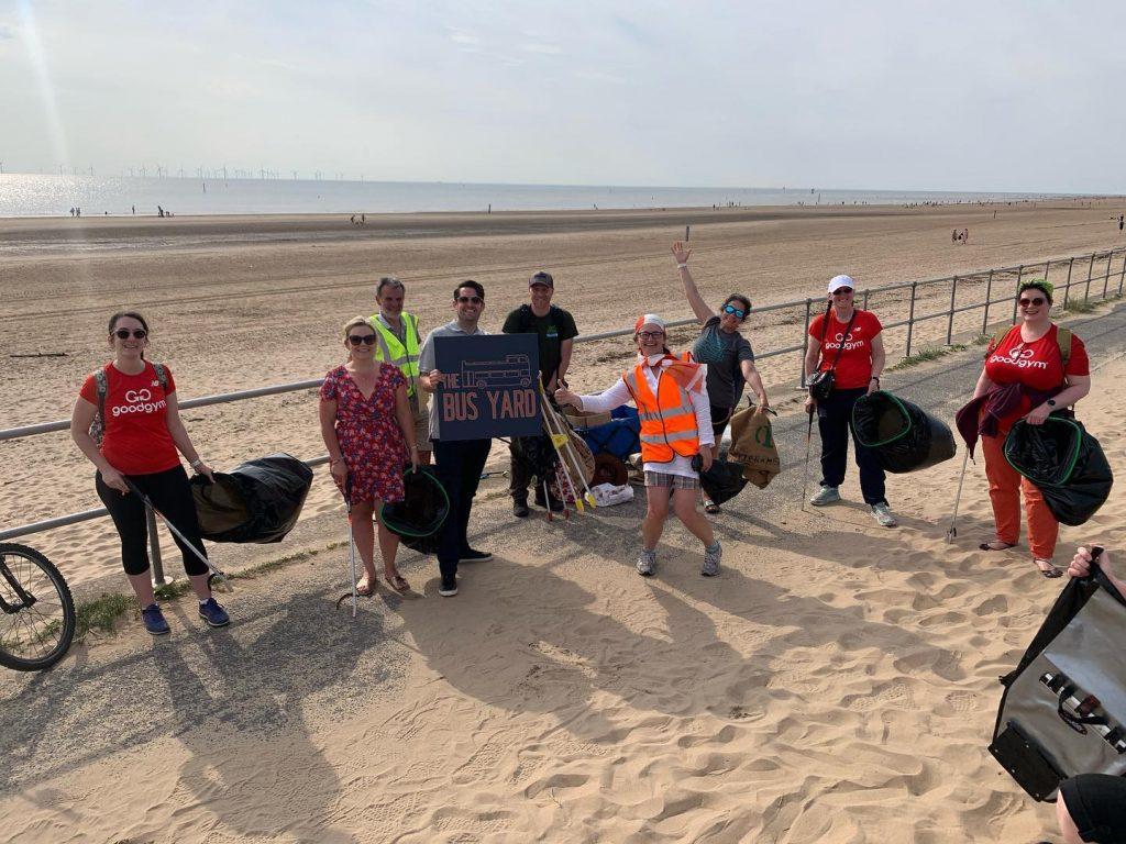 Bus Yard staff supporting Crosby beach litter pick
