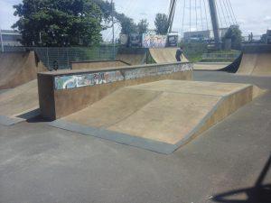 Newly refurbished 'Funbox' ramp at Southport Skatepark