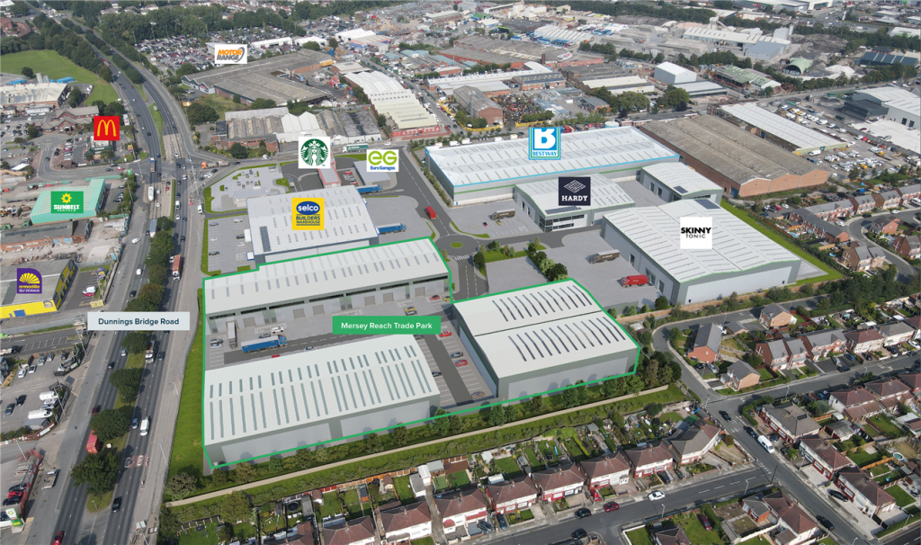 Aerial view of Mersey Reach trade park
