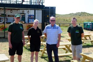 Ainsdale beach food and drink concession trial, B-Eat On The Street, manager Alex with Cllr Ian Moncur and Green Sefton staff earlier this summer