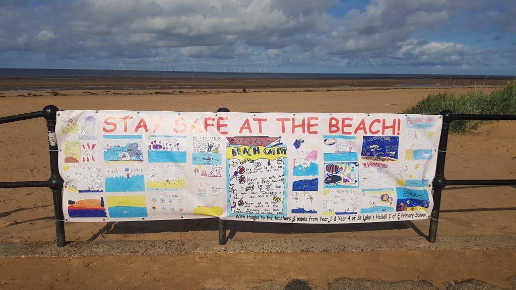 St Luke's Primary School beach safety banner
