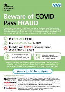 Poster warning people about COVID Pass fraud
