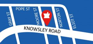 Map showing location of Knowsley Road Pharmacy